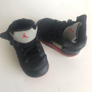 Jordan Retro Satin Black Red Lace Up Baby